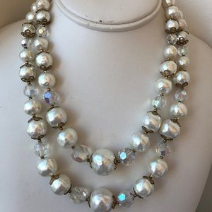 Vintage 2 strand clear faux pearl beaded necklace